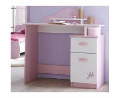 Bureau Enfant 1 Tiroir Porte Rose Orchidée-Blanc Perle BU105 - Bureaux