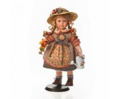 Faelens Poupée en Porcelaine avec Chapeau et arrosoir 42 cm - Objet à poser