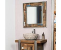 Miroir de salle de bain Factory teck métal 70x70 - Miroir