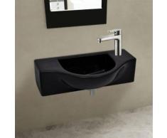 KKmoon Lavabo vasque à trou céramique Noir pour salle de bain 450 x 250 x 120 mm - Accessoires salles de bain et WC