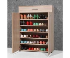 Armoire meuble à chaussures chêne sonoma avec 2 portes et 1 tiroir, L 89 x H 120 x P 37 cm -PEGANE- - Meubles à chaussures