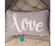 Coussin Love Gris 30x50 cm - Décoration Chambre Enfant Garçon Fille - Textile séjour
