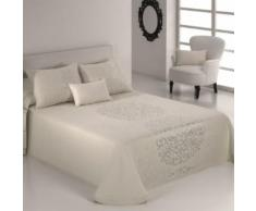Couvre-Lit 235X270cm Tissé Jacquard Presley Blanc Pour Lit De 140X190cm 100pourcentcoton - Linge de lit