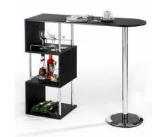 Table haute de bar VIGANDO 3 tablettes MDF noir - Tables hautes