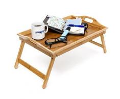 Lit pliable, plateau petit déjeuner au lit en bambou laqué - Ustensiles
