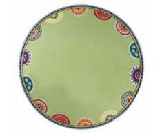 Assiette creuse en grès à motifs D21.5cm vert - Lot de 6 CARACAS - vaisselle
