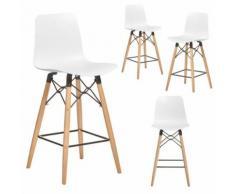 Chaise haute scandinave blanche TEKILA 2, lot de 4 - Tabourets