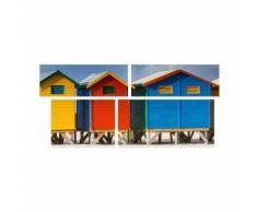 Tableau Multi Panneaux Cabane de plage sur toile 140x70 cm bleu et rouge - Décoration murale