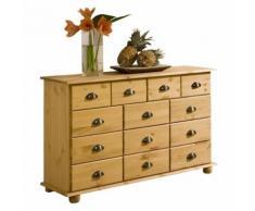 Commode COLMAR chiffonnier apothicaire rangement avec 11 tiroirs en pin massif finition teintée/cirée - Commodes