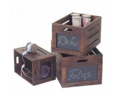 3x boîte en bois Troyes, box de conservation avec tableau, style shabby, vintage - marron - Boite de rangement