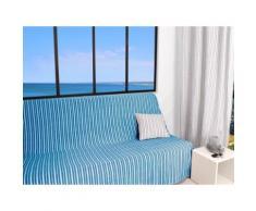 Jeté de canapé 170x250 cm COTONADE turquoise - Textile séjour