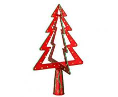 Cimier 3D de sapin de Noël - Sapin - Rouge et or - Objet à poser