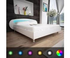 Meelady Lit avec LED Lit Double pour Adulte en Bois 200 x 180 cm Tissu Blanc - Cadre de lit