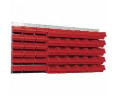 Kupper - Panneau mural perforé L120 x H60cm et 48 boites de rangements rouge - Rangement de l'atelier