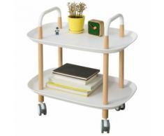 SoBuy® FKW76-W Chariot de Servie Roulant à 2 Niveaux Table à Roulettes de Service Desserte de cuisine Salon Salle de Bain - Tables d'appoint