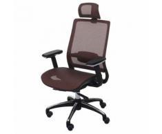 Chaise de bureau HWC-A20 chaise pivotante, ergonomique, appui-tête, tissu ~ brun rouge - Sièges et fauteuils de bureau