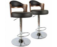 Lot de 2 chaises de bar Ruben Bois Noisette & Noir - Tabourets