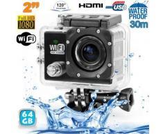 Camera sport wifi étanche caisson waterproof 12 MP Full HD Noir 64Go - Caméscope à carte mémoire