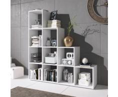 CASSI Étagère escalier - 10 cases blanc - Bibliothèques