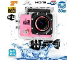Camera sport wifi étanche caisson waterproof 12 MP Full HD Rose 64Go - Caméscope à carte mémoire