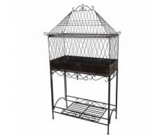 L'Héritier Du Temps - Serre de jardin sur pied d'intérieur ou extérieur cage à plante en fer 24x60x113cm - Objet à poser