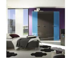Armoire design laquée turquoise et anthracite ANATOLE - L 198 x P 53 x H 214 cm - Tables salle à manger