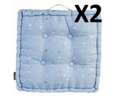 Lot de 2 coussins de sol bleu - Dim : L.40 x l.40 x h.8 cm -PEGANE- - Textile séjour