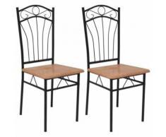 vidaXL Chaises de salle à manger 2 pcs Marron Chaises de salle à manger cuisine - Chaise