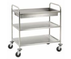 Chariot de service cuisine design professionnel inox 2 étages + 1 bac max 120 kg 3614117 - Accessoires de rangement
