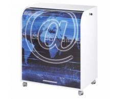 Meuble Informatique Blanc à Roulettes Rideau Imprimé Arobase - Postes Informatiques