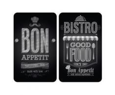 Planches à découper en verre - Lot de 2 couvre plaques universels - Bon appétit - Objet à poser