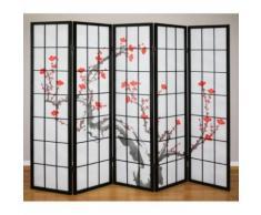 Paravent 5 panneaux japonais en bois noir 220x175cm PAR06015 - Objet à poser