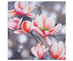 Tableau à l'huile, rameau de fleurs, peint à la main à 100%, toile de décoration murale XL ~ 90x90cm - Décoration murale