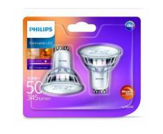 Philips en verre classique warmglow 5,5 W LED GU10 Dimmable Spot Light, Blanc chaud, de rechange pour 50 W Spot halogène) Pack de 2, en verre,, GU10, 5. Watts, Lot de 2 - Équipements électriques pour luminaire