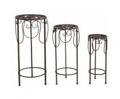 Sellettes rondes en métal vieilli (lot de 3) - Table basse et console