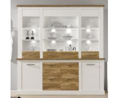 Vaisselier bois et blanc moderne LIZA avec éclairage - Vaisseliers