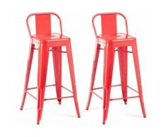 Chaise haute design industriel SAN FRANCISCO (lot de 2) rouge - Chaise