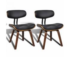 2 Chaises de cuisine salon salle à manger design noir bois - Chaise