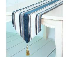 Chemin de table à rayures en polyester Bleu - linge de table et décoration