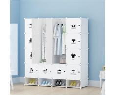 Armoires Etagères Plastiques - Penderie Plastiques, Meuble Rangement 16 Cubes Modulables + 4 Cubes Chaussures, Blanc - Armoire