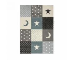 PASTEL KIDS Tapis pour enfant 100% polypropylene - Motif étoile et lune - 120 x 170 cm - Bleu - Tapis et paillasson
