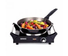Duronic HP1BK Plaque de cuisson électrique en fonte - Réchaud de 1500W - Thermostat ajustable - Grillade et barbecue