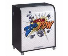 Meuble Informatique Noir à Roulettes Rideau Imprimé Zonk Pow - Postes Informatiques