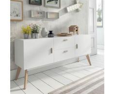 Enfilade scandinave blanc et bois clair SEDRIA 2 - L 160 x P 40 x H 70 cm - Buffets