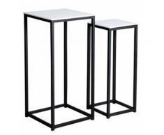 Sellettes carrées en bois et métal (lot de 2) - Tables d'appoint