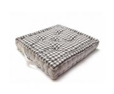 Coussin de sol en coton VICHY Gris - Textile séjour