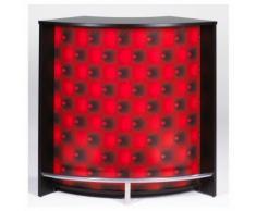 Meuble bar, Comptoir de Cuisine, meuble d'Accueil Noir Capitons Rouges - Tables bar