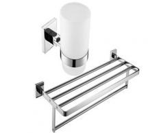 Ensemble de 2 pièces de salles de bain avec finition en laiton chromé ( porte-serviettes et porte-brosse à dents ) - Accessoires salles de bain et WC
