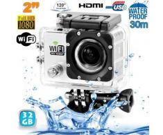 Camera sport wifi étanche caisson waterproof 12 MP Full HD Blanc 32Go - Caméscope à carte mémoire
