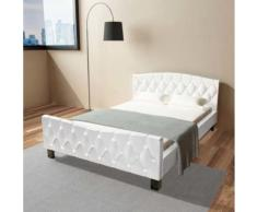 Meelady Cadre de Lit Double pour Adulte en Cuir Artificiel Ultra-Brillant Style Moderne Blanc 140 x 200 cm - Cadre de lit
